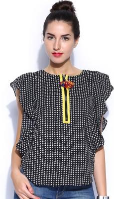Anouk Casual Short Sleeve Printed Women's Black Top