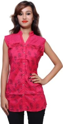 Kiez Casual Sleeveless Printed Women's Pink Top