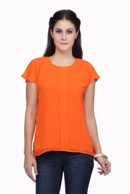 Viro Casual Short Sleeve Solid Women's Orange Top