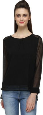 Bombay High Casual Full Sleeve Solid Women's Black Top
