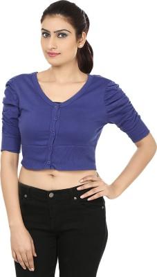 Haniya Casual 3/4 Sleeve Solid Women's Blue Top