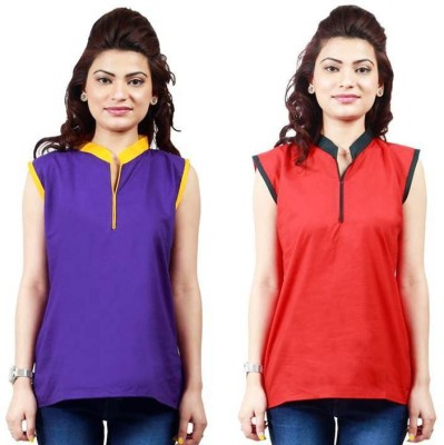 Ambitione Women,s, Girl's Solid Casual Purple, Red Shirt