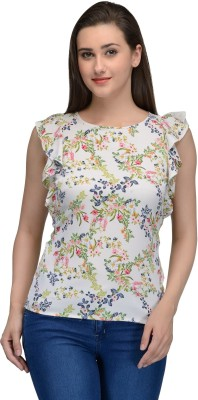 Onemm Casual Butterfly Sleeve Floral Print Women's White Top