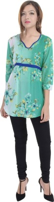 Fantasy Ika Casual 3/4 Sleeve Floral Print Women's Green Top