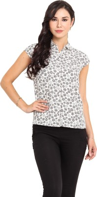 Pryma Donna Casual Short Sleeve Printed Women's White Top