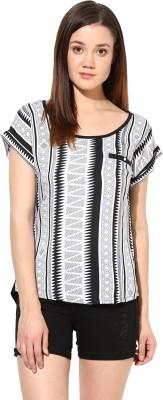 SS Casual Short Sleeve Woven Women's Multicolor Top