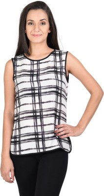 Whistle Casual Sleeveless Geometric Print Women's Black, White Top