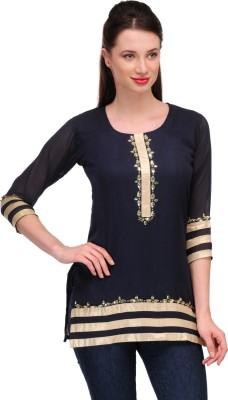In-Trend Casual 3/4 Sleeve Solid Women,s Blue Top