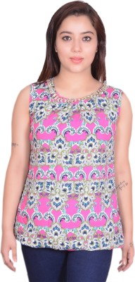 RIWAZ Casual Sleeveless Printed Women's Multicolor Top