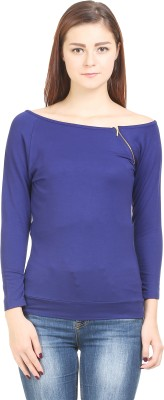 Wear Berry Party Full Sleeve Solid Women's Blue Top