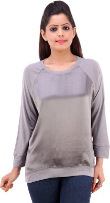 Pure Nautanki Casual Full Sleeve Solid Women's Silver Top