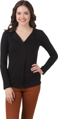 Texco Casual Full Sleeve Solid Women's Black Top at flipkart