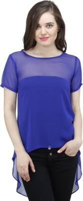 Osumfab Casual Short Sleeve Solid Women's Blue Top