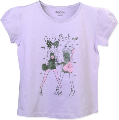 Minnow Casual Short Sleeve Printed Girl's Purple Top