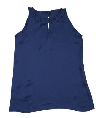 KARYN Casual Sleeveless Solid Girl's Blue Top