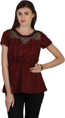 Belle Fille Casual Short Sleeve Printed Women's Maroon Top