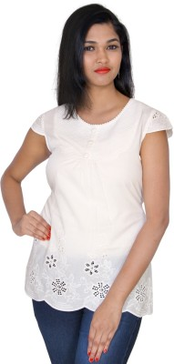 Clodentity Casual Cape Sleeve Embroidered Women's White Top