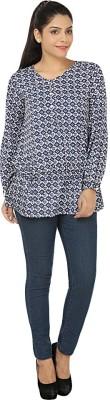Kwardrobe Casual, Lounge Wear Balloon Sleeve Graphic Print Women's Blue, White Top