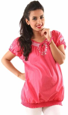 Kriti Western Maternity Casual Short Sleeve Embroidered Women's Pink Top