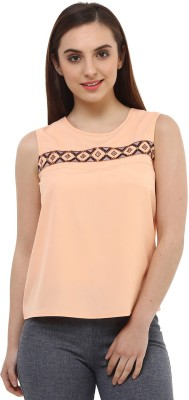 Oxolloxo Casual Sleeveless Solid Women's Beige Top at flipkart