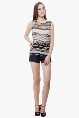 Miss Queen Casual Sleeveless Geometric Print Women's White, Black Top