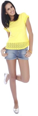 Miss Pink Casual Short Sleeve Solid Girl's Yellow Top
