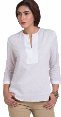 The Office Walk Formal 3/4 Sleeve Solid Women's White Top