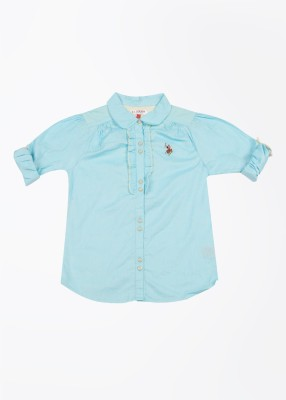 U.S. Polo Assn. Casual Roll-up Sleeve Solid Girl's Blue Top