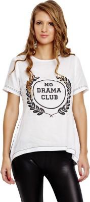 JALEBE Casual Short Sleeve Printed Women's White Top