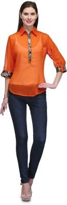 Glamdiva Party 3/4 Sleeve Solid Women's Orange Top