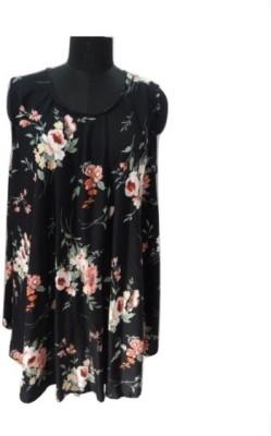 Eleganceranuka Casual Sleeveless Floral Print Women's Black Top