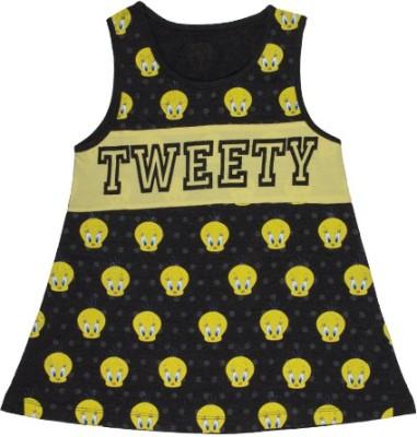 Tweety Casual Sleeveless Printed Girl's Yellow, Black Top
