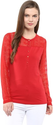 Harpa Casual Full Sleeve Solid Women's Red Top at flipkart