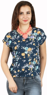 FASHIONHOLIC Casual Short Sleeve Floral Print Women's Grey Top