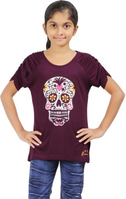 Ventra Casual Roll-up Sleeve Printed Girl's Purple Top