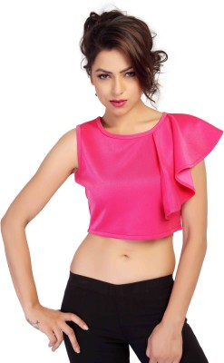HERCOMPLETEWOMAN Party Sleeveless Solid Women's Pink Top