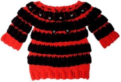 AV Casual Full Sleeve Embroidered Girl's Red, Black Top