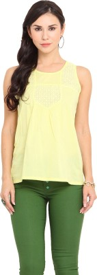 Urban Helsinki Casual Sleeveless Embroidered Women's Yellow Top