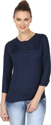 My Swag Casual 3/4 Sleeve Solid Women's Blue Top
