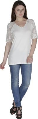 Eva De Moda Casual Short Sleeve Solid Women's White Top