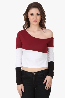 Texco Party Full Sleeve Solid Women's Black, White, Maroon Top at flipkart