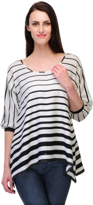 Just Wow Casual 3/4 Sleeve Striped Women's Black, White Top