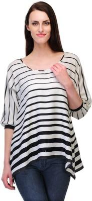 Fashionwalk Casual 3/4 Sleeve Striped Women's Black, White Top