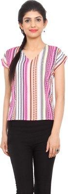 Label VR Casual Short Sleeve Printed Women's Multicolor Top