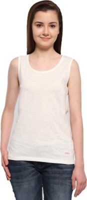 ADRO Casual Sleeveless Solid Women's White Top