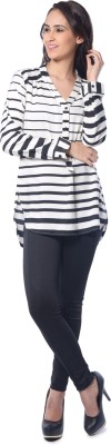 Florriefusion Casual Roll-up Sleeve Striped Women's Black Top