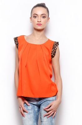 Popnetic Casual Sleeveless Solid Women's Orange Top at flipkart