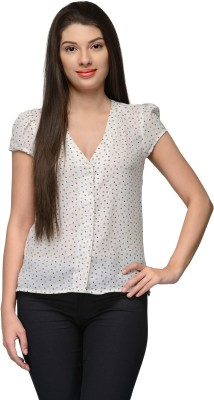 Vemero Formal Puff Sleeve Floral Print Women's White Top