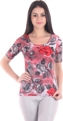 SS Casual Short Sleeve Floral Print Women's Red Top
