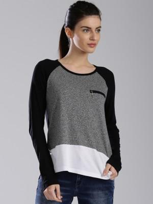 HRX by Hrithik Roshan Casual Full Sleeve Self Design Women's Black Top